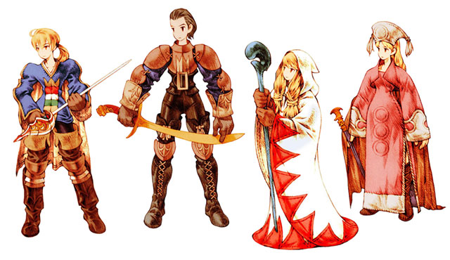 Character designs from Final Fantasy Tactics by artist Akihiko Yoshida.